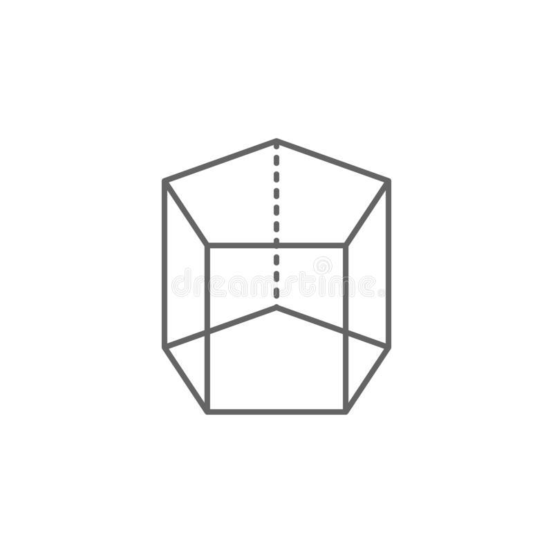 Geometric figures, pentagonal prism outline icon. Elements of geometric figures illustration icon. Signs and symbols can be used royalty free illustration