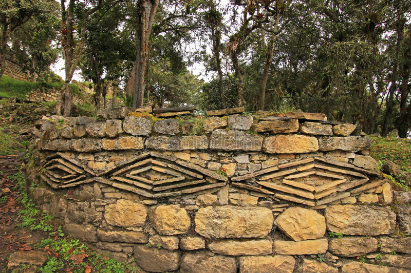 Geometric figures at the pre inca ruin Kuelap high up in the north peruvian mountains. Near Chachapoyas. It's a typical pre inca symbol royalty free stock image