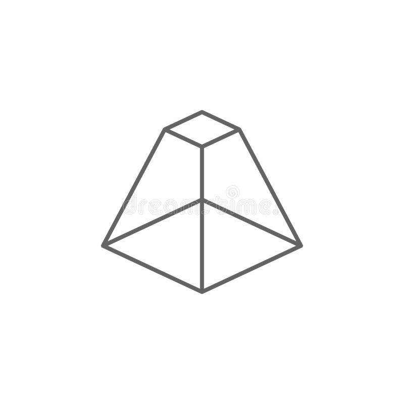 Geometric figures, pyramid with flat top outline icon. Elements of geometric figures illustration icon. Signs and symbols can be stock illustration