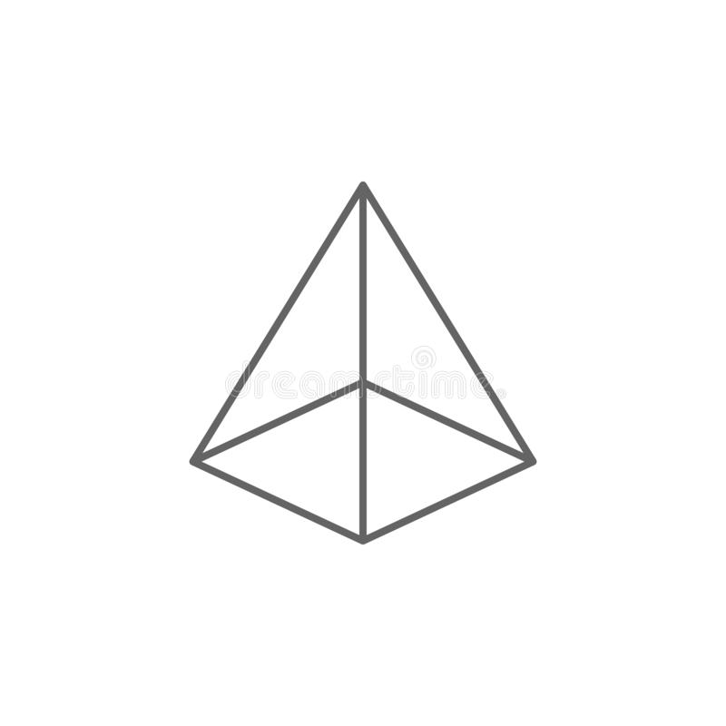 Geometric figures, square based pyramid outline icon. Elements of geometric figures illustration icon. Signs and symbols can be royalty free illustration