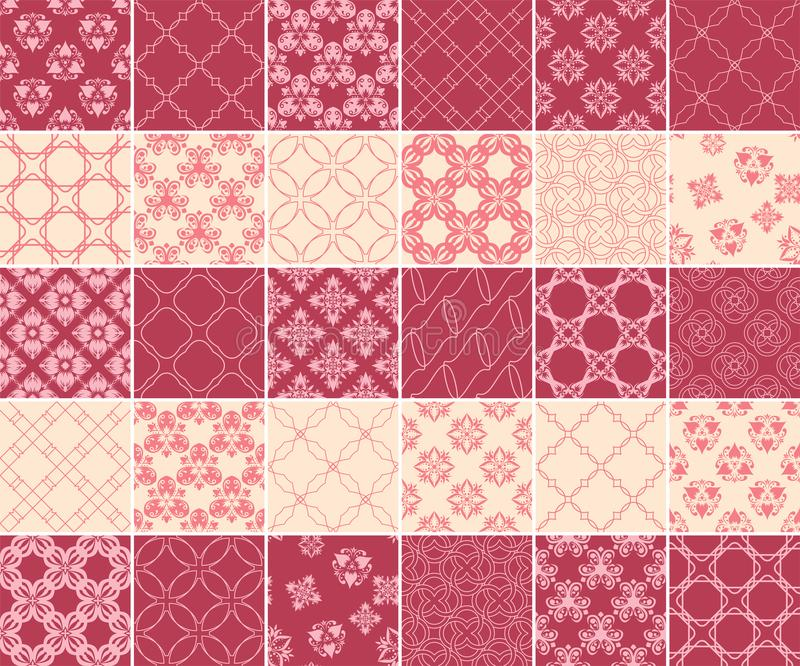 Geometric and floral collection of seamless patterns. Cherry red and beige backgrounds vector illustration