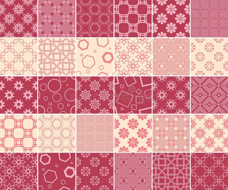 Geometric and floral collection of seamless patterns. Cherry red and beige backgrounds stock illustration
