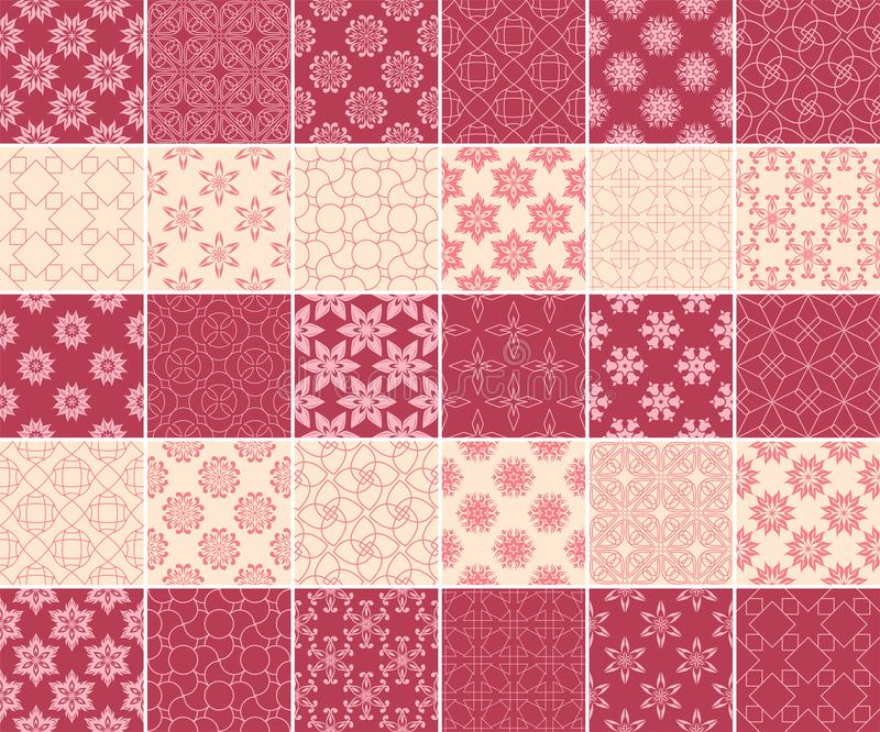 Geometric and floral collection of seamless patterns. Cherry red and beige backgrounds royalty free illustration