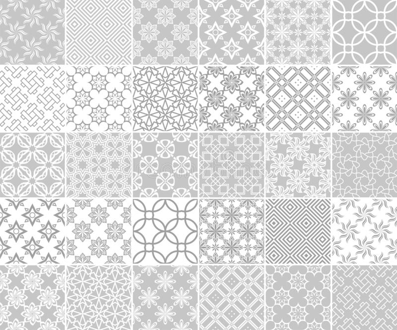 Geometric and floral collection of seamless patterns. Gray and white backgrounds stock illustration