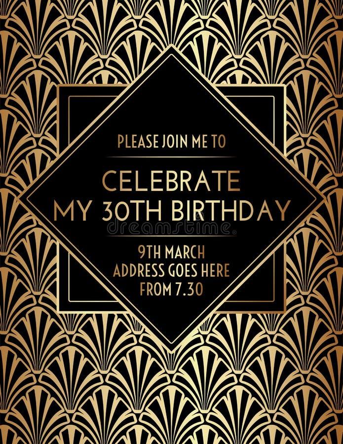 Geometric Floral Gatsby Art Deco Birthday Invitation Design. Vector stock illustration