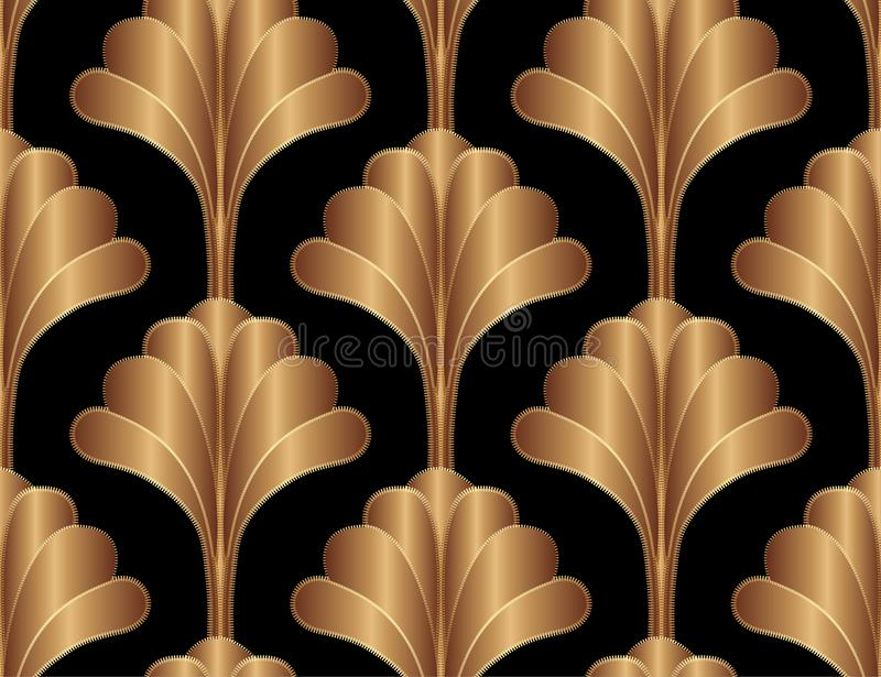 Geometric Floral Gatsby Art Deco Seamless Pattern Background Design. Vintage Style Decorative Texture royalty free illustration