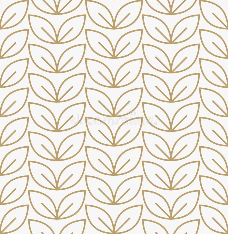 Geometric floral leaf ornament line seamless pattern, modern minimalist style pattern background vector illustration