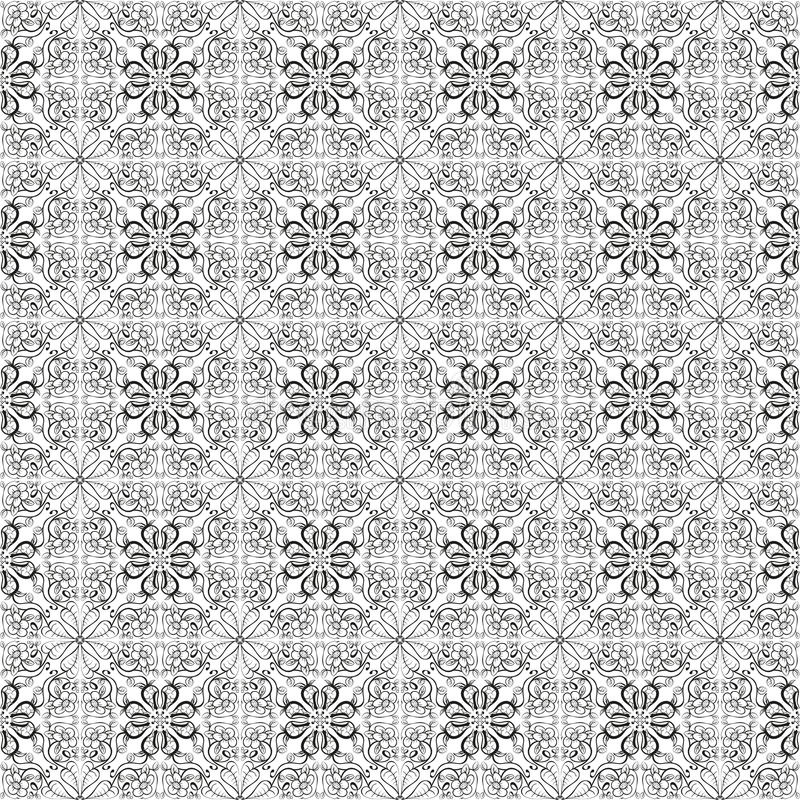 Geometric floral ornament. Seamless pattern. Isolated on white background. Stock image stock illustration