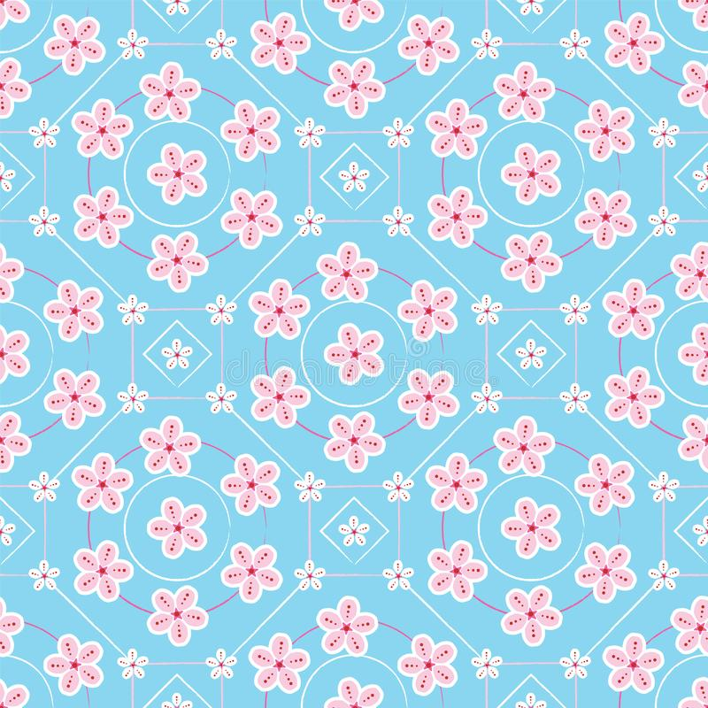 Geometric floral pattern sakura or cherry blossoms flower in a modern flat style. Japanese floral print vector design background stock illustration