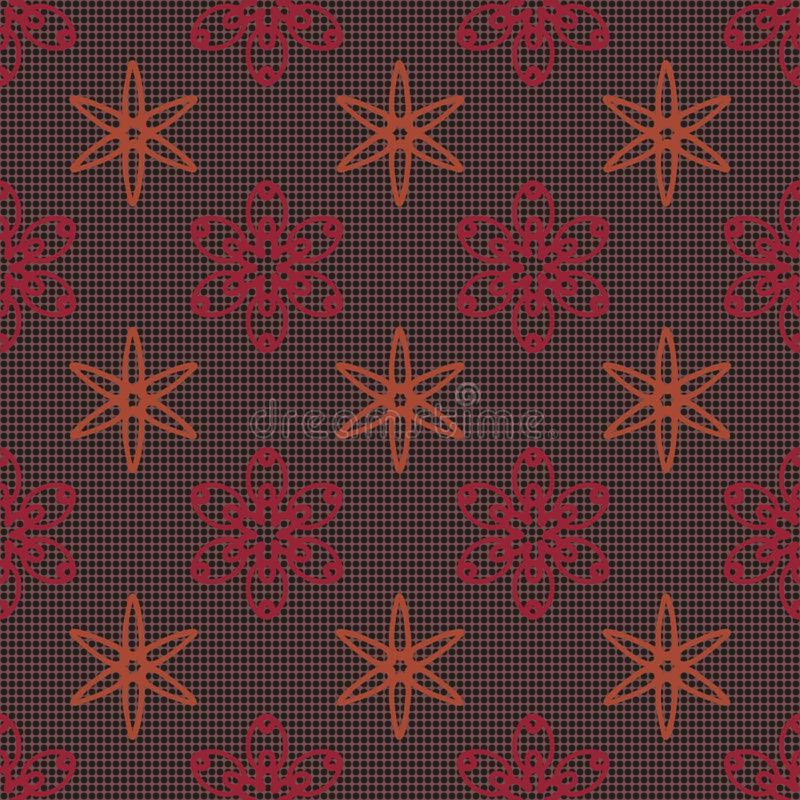 Geometric floral seamless pattern on polka dot background stock illustration