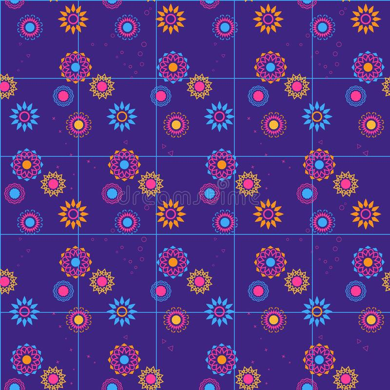 Geometric flower background for fabric, wallpaper or web. stock photos