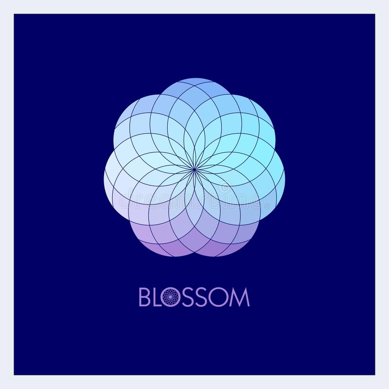 Geometric flower in fashionable colors. Template for the logo, emblem royalty free illustration