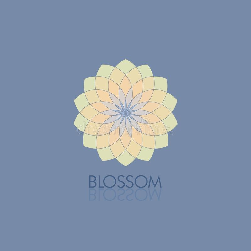 Geometric flower in fashionable colors. Template for the logo, emblem vector illustration