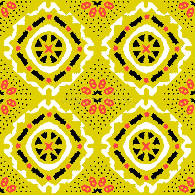 Geometric folk seamless vector pattern with ikat ethnic print of striped ornament. As background or texture stock illustration