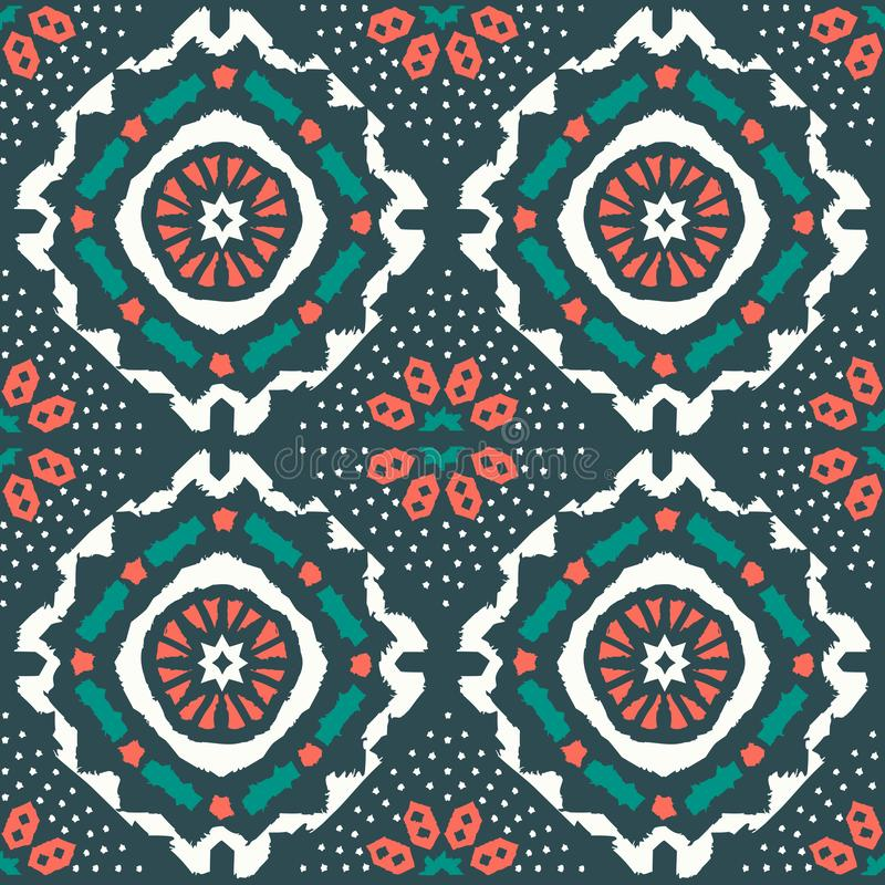 Geometric folk seamless vector pattern with ikat ethnic print of striped ornament. As background or texture vector illustration