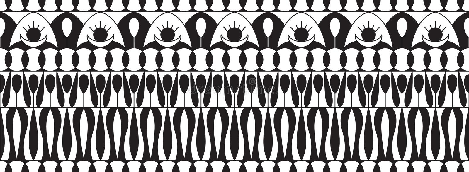 Geometric folklore ornament. Ethnic vector texture. Seamless striped pattern in vintage style. Monochrome illustration vector illustration