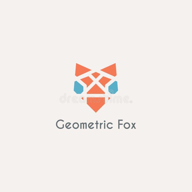 Vector geometric fox head emblem. Geometric fox head emblem. Vector animal logo template stock illustration