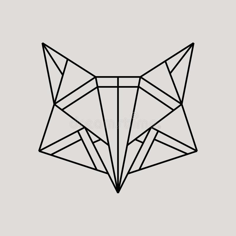 Geometric fox head isolated on grey background vintage vector design element illustration. Fox Origami, Vector logo template stock illustration