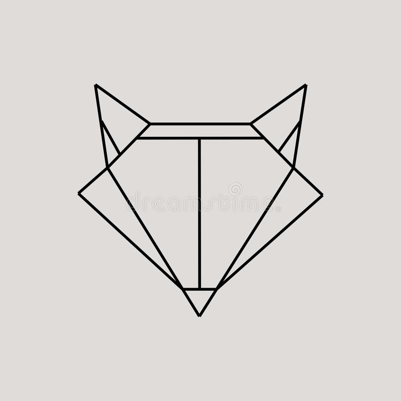 Download Geometric Fox Head Isolated On Grey Background Vintage Vector Design Element Illustration Stock