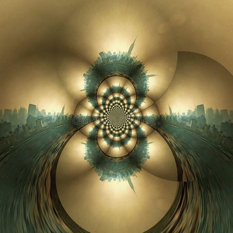 NYC Fractal. Geometric fractal in soft colors. Manhattan, New York royalty free illustration