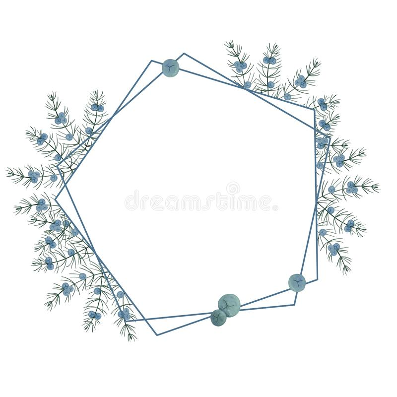Geometric frame with juniper branches and berries. Drawn by hand on paper in watercolor. The greens of winter. For invitations, royalty free illustration