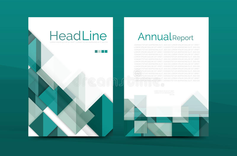 Geometric A4 Front Page, Business Annual Report Print Template Stock Vector