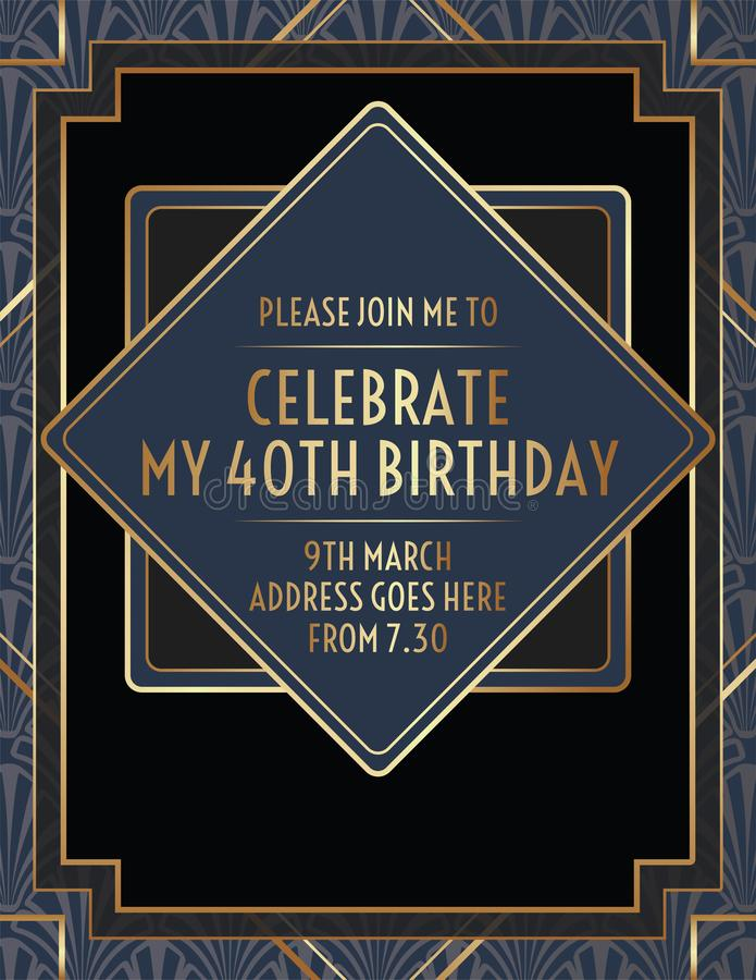 Geometric Gatsby Art Deco Birthday Invitation Design vector illustration