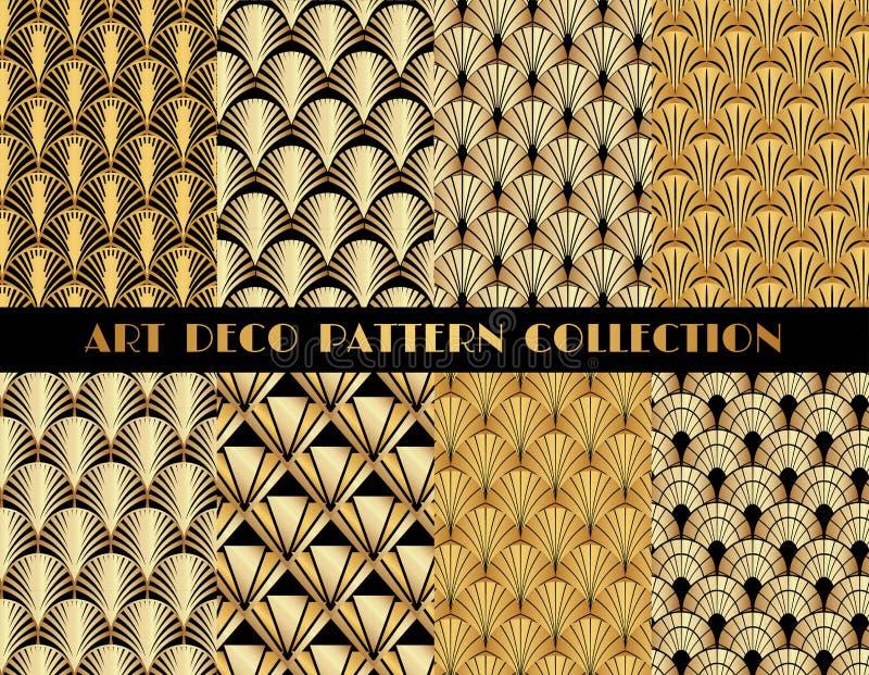 Geometric Gatsby Art Deco Pattern Set royalty free illustration