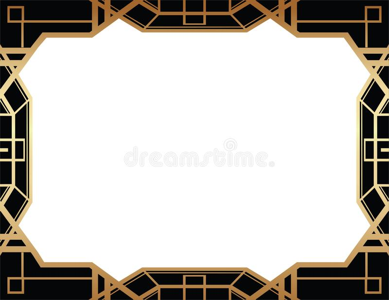 Geometric Gatsby Art Deco Style Border Frame Design stock illustration