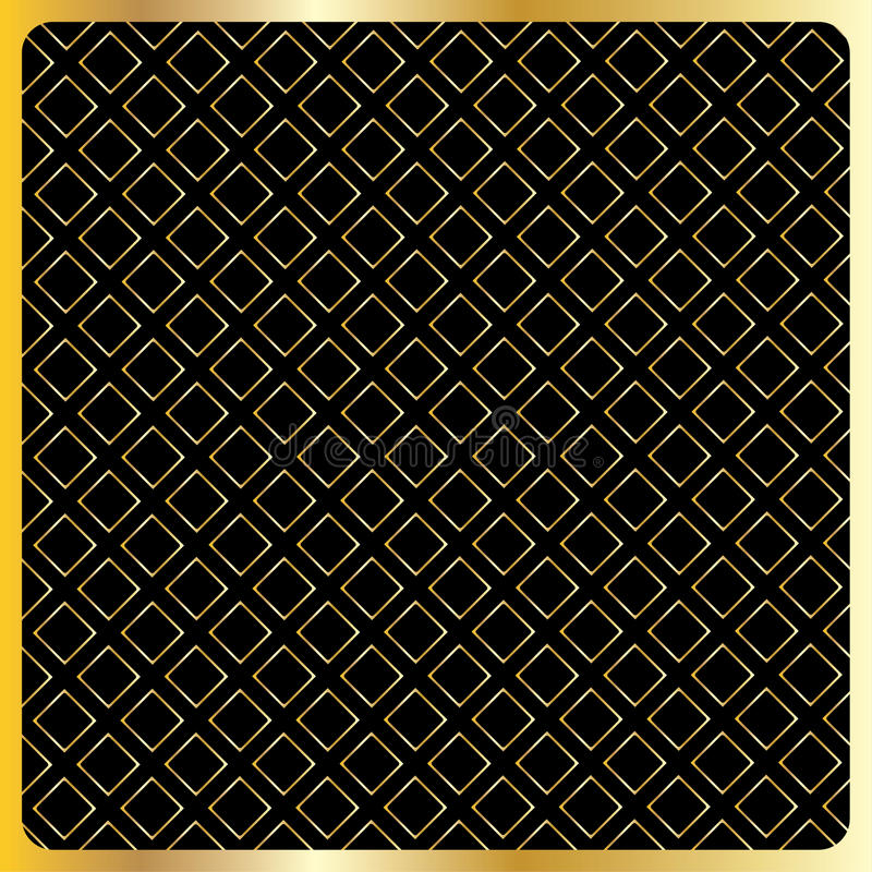 Geometric gold squares on black background. Gold geometric pattern with geometric gold shapes of the squares on black background and gold frame. Retro, vintage vector illustration