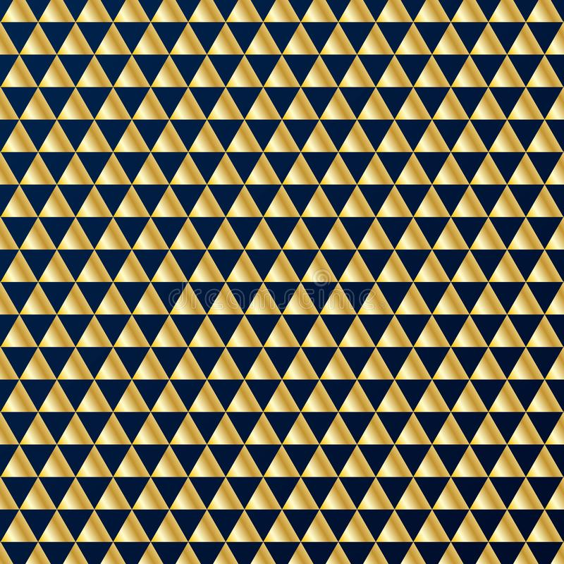 Geometric gold triangles luxury seamless pattern on dark blue background. Gold and blue colors design elements for elegant festive stock illustration