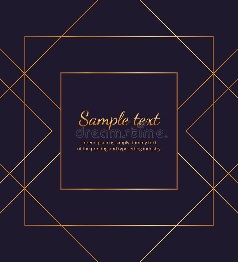Geometric golden lines on the dark blue background. Modern minimalist luxury placard, frame design. Template for invitation, card, stock illustration