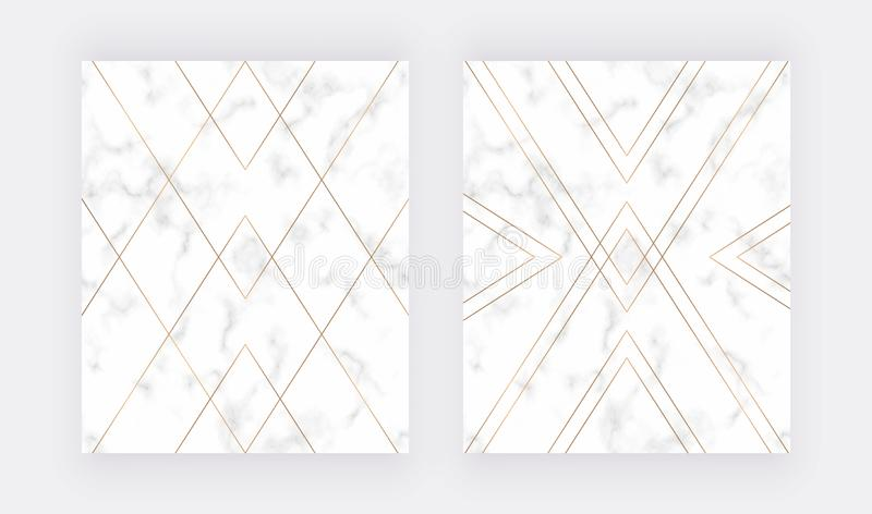 Geometric golden polygonal lines on the marble texture. Trendy background for wedding, banner, wallpaper, flyer, poster, card, inv royalty free stock photos