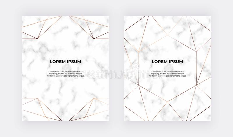 Geometric golden polygonal lines on the marble texture. Trendy background for wedding, banner, wallpaper, flyer, poster, card, inv royalty free illustration