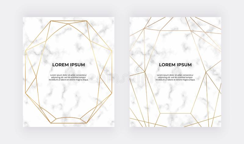 Geometric golden polygonal lines on the marble texture. Trendy background for wedding, banner, wallpaper, flyer, poster, card, inv stock illustration