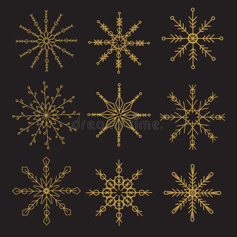 Geometric golden snowflakes on black background. New year, Christmas decorative icons stock illustration