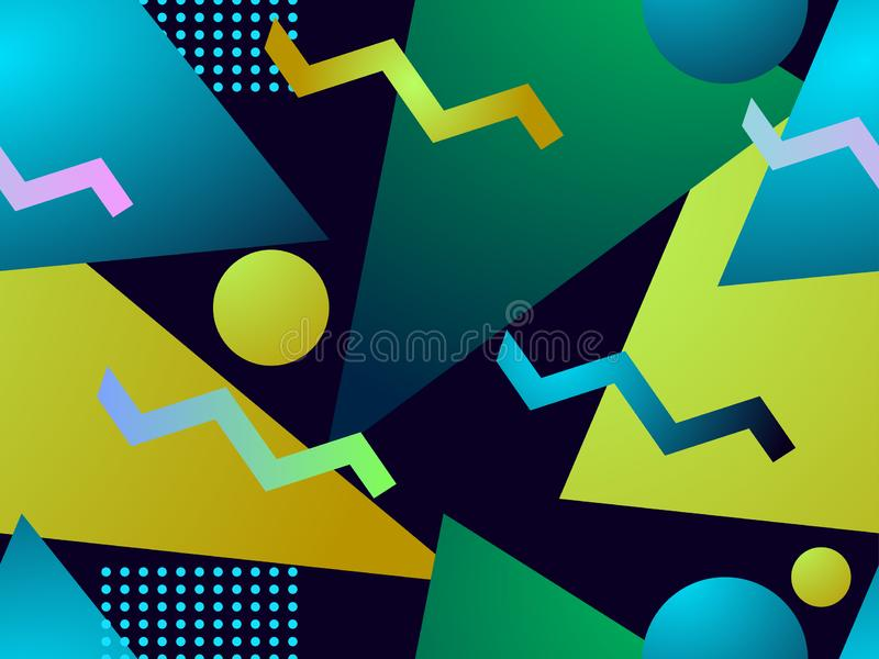 Geometric gradient shape seamless pattern. Triangles, circles and points. Background for wrapping paper, print. Fabric and printing. Vector illustration vector illustration