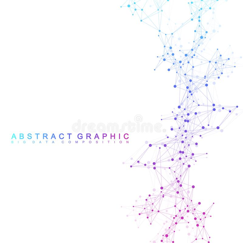 Geometric graphic background communication. Big data complex with compounds. Perspective backdrop. Minimal array. Digital data visualization. Scientific stock illustration