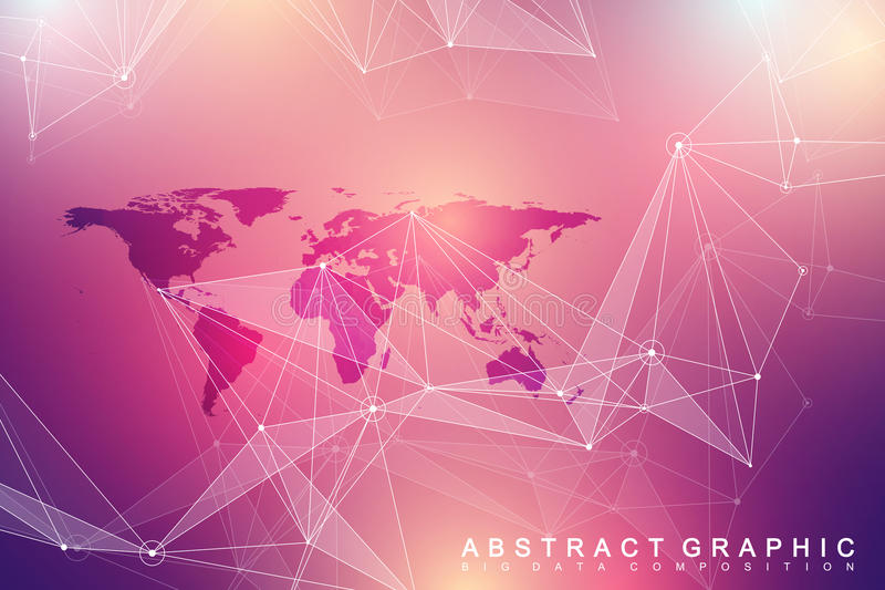 Geometric graphic background communication. Big data complex with Political World Map. vector illustration