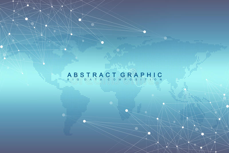 Geometric graphic background communication with Dotted World Map. Big data complex with compounds. Perspective minimal. Array. Digital data visualization royalty free illustration