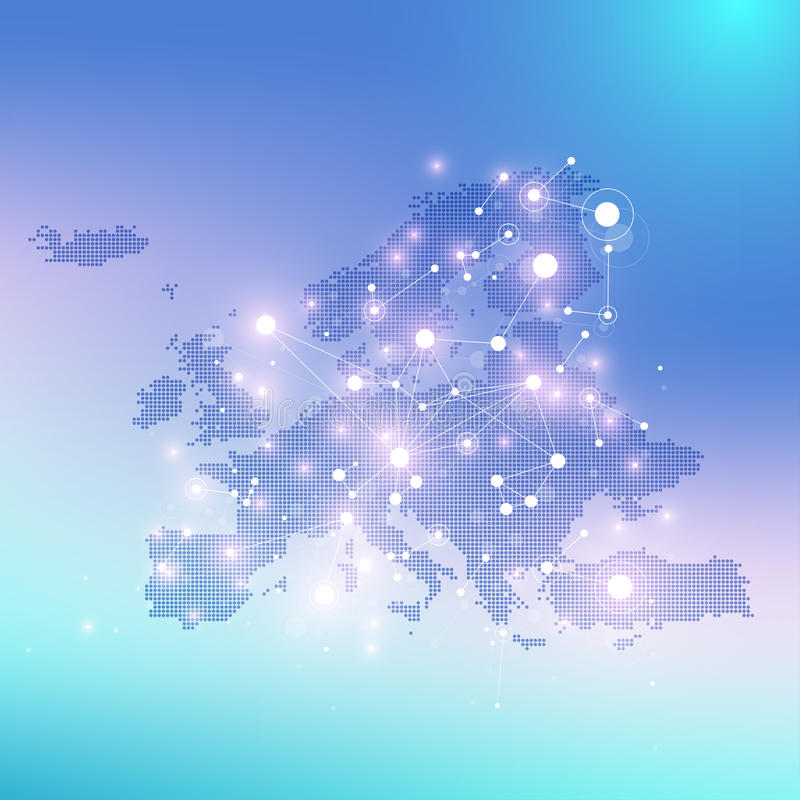 Geometric graphic background communication with Europe Map. Big data complex with compounds. Perspective backdrop. Minimal array. Digital data visualization vector illustration