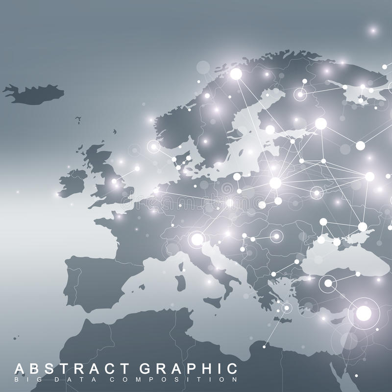 Geometric graphic background communication with Europe Map. Big data complex with compounds. Perspective backdrop. Minimal array. Digital data visualization stock illustration