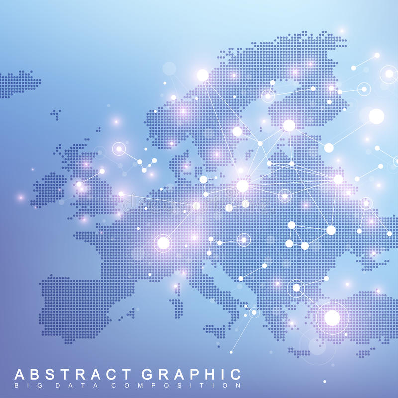 Geometric graphic background communication with Europe Map. Big data complex with compounds. Perspective backdrop. Minimal array. Digital data visualization royalty free illustration