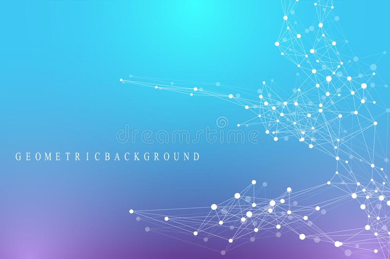 Geometric graphic background communication. Global network connections. Wireframe complex with compounds. Perspective. Backdrop. Digital data visualization stock illustration