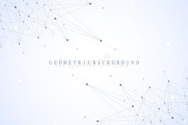 Geometric graphic background communication. Global network connections. Wireframe complex with compounds. Perspective. Backdrop. Digital data visualization vector illustration