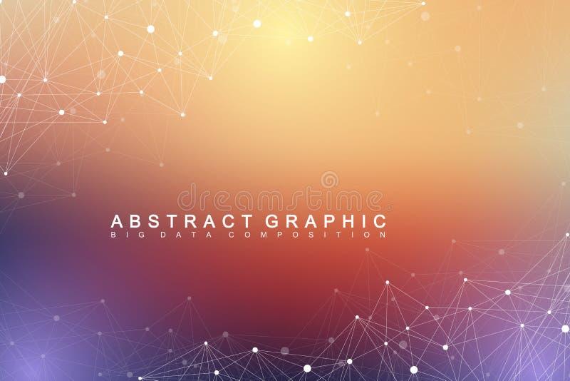 Geometric graphic background molecule and communication. Big data complex. With compounds. Lines plexus, minimal array. Digital data visualization. Scientific vector illustration