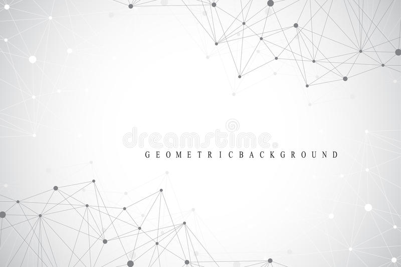 Geometric graphic background molecule and communication. Big data complex with compounds. Lines plexus, minimal array. Digital data visualization. Scientific stock illustration