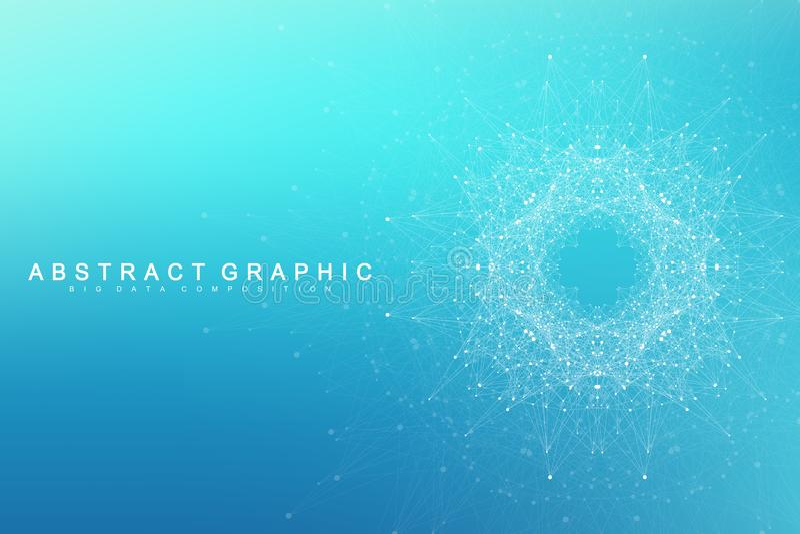 Geometric graphic background molecule and communication. Big data complex with compounds. Lines plexus, minimal array. Digital data visualization. Scientific vector illustration