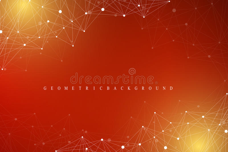 Geometric graphic background molecule and communication. Big data complex with compounds. Perspective backdrop. Minimal. Array Big data. Digital data vector illustration