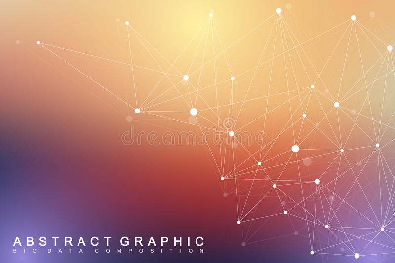 Geometric graphic background molecule and communication. Big data complex with compounds. Perspective backdrop. Minimal. Array. Digital data visualization royalty free illustration